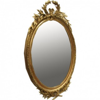 George III Style Oval Gilded Wall Mirror