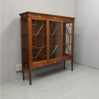 Sheraton Style Inlaid Mahogany Display Cabinet