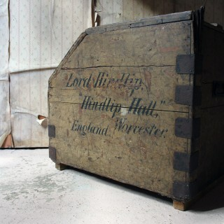 A 19thC Painted Pine Estate Made Trunk; Signwritten for Lord Hindlip, Hindlip Hall, Worcester, England