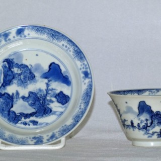 Kangxi Blue and White master of the Rocks Tea Bowl and Saucer