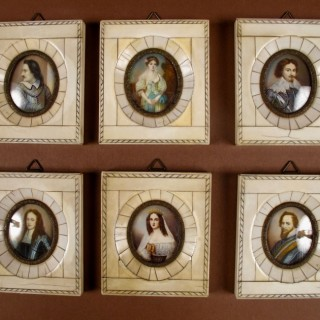 A Set Of Six Portrait Miniatures In Bone/Ivory Frames. French Italian Circa 1900