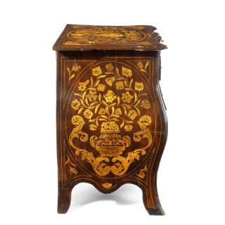 Period Dutch Mahogany Four-Drawer Bombe Marquetry Commode 1800