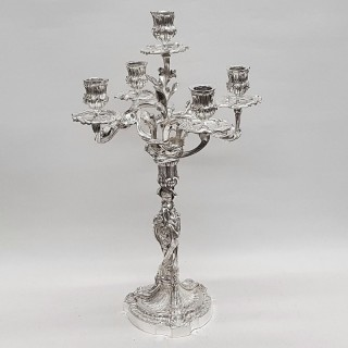 Antique French Silver Plated Candelabra