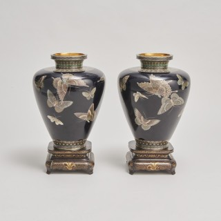 A pair of exquisite  Japanese Cloisonnéé vases