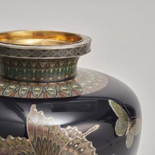 A pair of exquisite  Japanese Cloisonnéé vases
