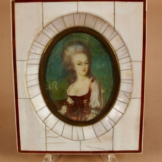 A Portrait Miniature In Bone/Ivory Frame. French/Italian Circa 1900.