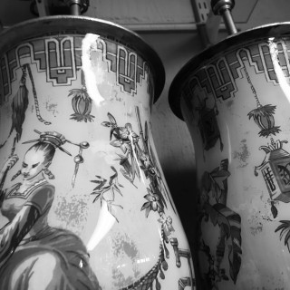 PAIR OF DECLAMANIA HAND PAINTED ORIENTALIST TABLE LAMPS