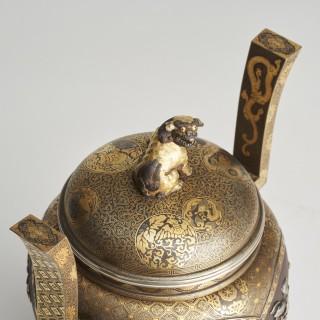 A Meiji period, elaborate soft-metal-inlaid iron Koro