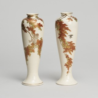 A pair of miniature Japanese Satsuma vases signed by Yabu Meizan