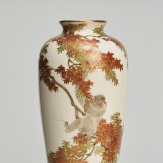 A pair of miniature Japanese Satsuma vases signed by Yabu Meizan