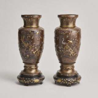 A pair of Japanese multi-metal Bronze vases by Kumagaya