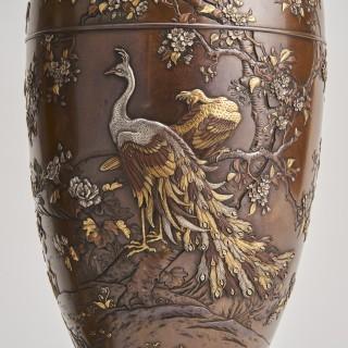 A pair of Japanese multi-metal Bronze vases by Kumagaya