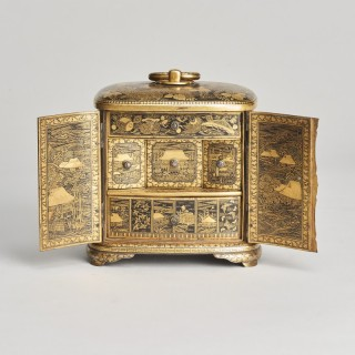A Japanese iron miniature of a cabinet by Nogawa