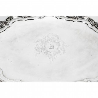 Antique Victorian Oval Silver Plated Tea Tray by Elkington 19th Century