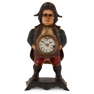 Antique cast iron 'blinking eye' mantel clock by Bradley & Hubbard