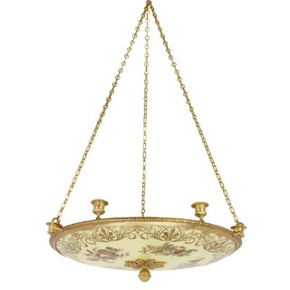 19th Century gilt bronze and glass bowl chandelier