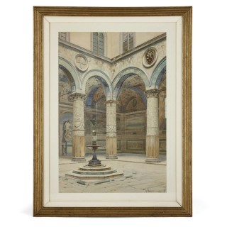 Antique watercolour of Palazzo Signoria in Florence