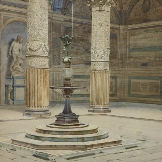Antique watercolour of Palazzo Signoria in Florence