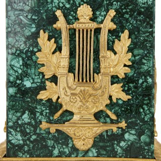 Two Neoclassical style gilt bronze and malachite Campagna vases