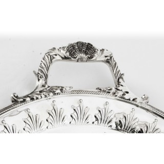 Antique Victorian Neo Classical Oval Silver Plated Tray William Hutton 19th C