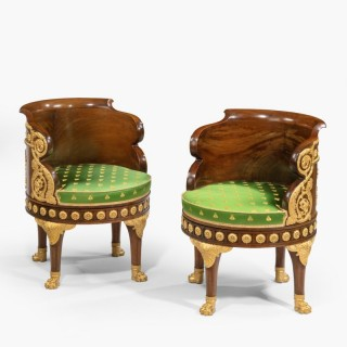 A Pair of Fauteuils de Bureau of the Napoleon III Period