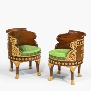 A Pair of Fauteuils de Bureau of the Napoleon III Period