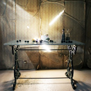 A Late Victorian Cast Iron & Marble Topped Table c.1900