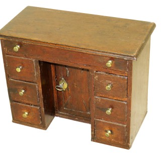 English Mid 18th Century Miniature Oak Kneehole Desk