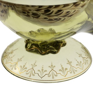 c.1920 Bohemian enamelled glass game bird bowl & cover