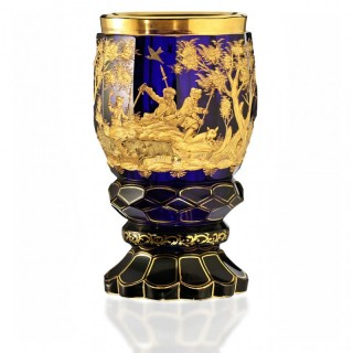 c.1840 Bohemian carved and gilded cobalt glass goblet vase