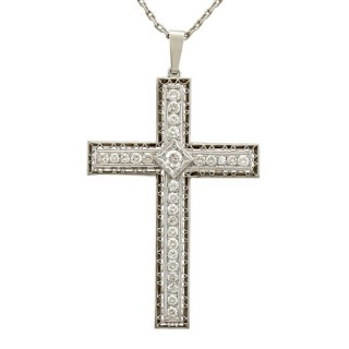 2.07ct Diamond and Platinum Cross Pendant - Antique Circa 1920