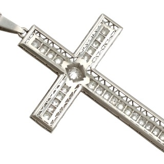 2.07ct Diamond and Platinum Cross Pendant - Antique Circa 1920