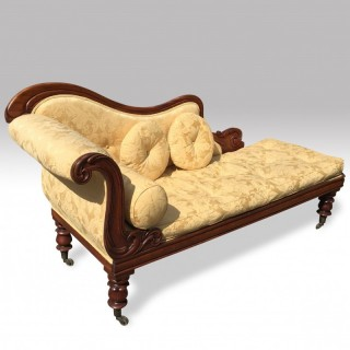 Mid 19th Century Carved Mahogany Chaise Longue