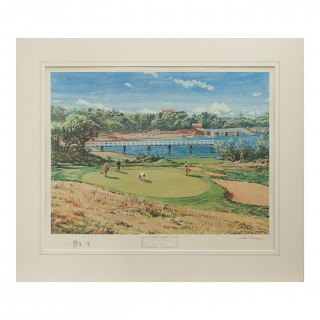 Colourful golf print 'Woods Hole, Cape Cod' by Arthur Weaver, published 1968 by Frost & Reed
