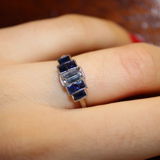 Platinum Diamond and Sapphire Ring , circa 1925
