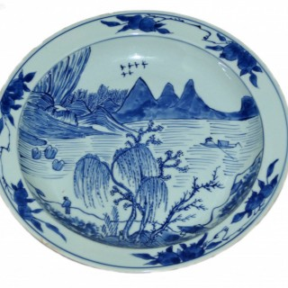 Chinese 17th Century Blue and White Master of The Rocks large Plate