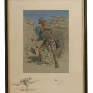 Snaffles Print, Wwi Military Print, Anzac. Australian Soldier in the Trenches of the Dardanelles 1916