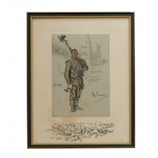 Vintage Snaffles First World War Print, Wipers 1915
