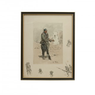 Vintage Snaffles First World War Print, Le Poilu Circa 1915-1917