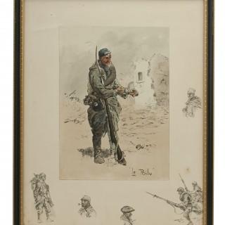 Vintage Snaffles First World War Print, Le Poilu Circa 1915-1917