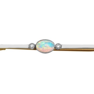 0.62 ct Opal and Diamond, 15 ct Yellow Gold Bar Brooch - Antique Circa 1910