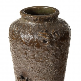 A Meiji period bronze vase with two frogs