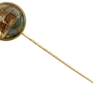 Essex Crystal and 15 ct Yellow Gold Stickpin Brooch - Antique Victorian