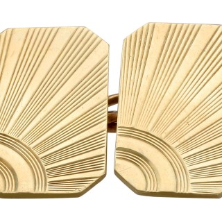 Cufflinks in 9 ct Yellow Gold - Art Deco Style - Vintage 1967