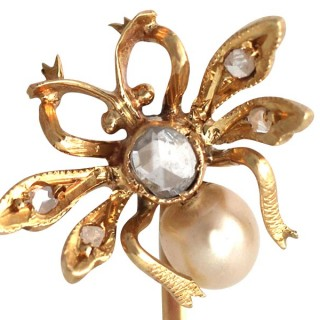 Pearl and 0.17 ct Diamond, 18 ct Yellow Gold Insect Pin Brooch - Antique Victorian