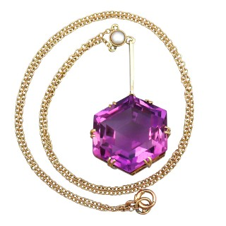 25.20 ct Amethyst and Seed Pearl, 9 ct Yellow Gold Pendant - Antique Circa 1900