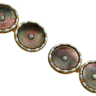 Mother of Pearl and Seed Pearl, Enamel 9 ct Yellow Gold Cufflinks - Antique Circa 1910