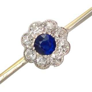 0.16 ct Sapphire and 0.26 ct Diamond Cluster, 15 ct Yellow Gold Bar Brooch - Antique
