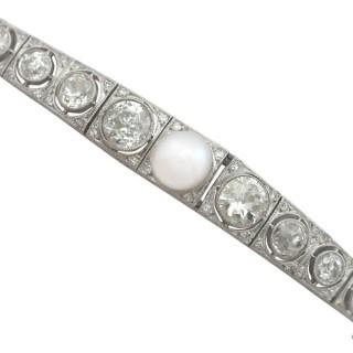 5.61 ct Diamond and Pearl, 18 ct White Gold Bracelet - Antique Circa 1900