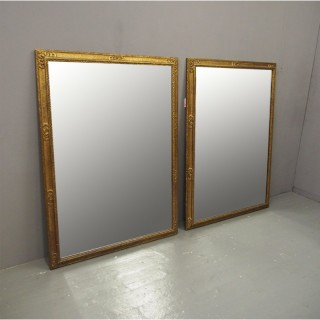 Pair of Gilded Pine Mirrors